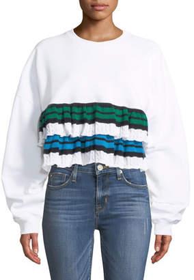 MSGM Crewneck Cropped Sweatshirt with Ruffle Detail