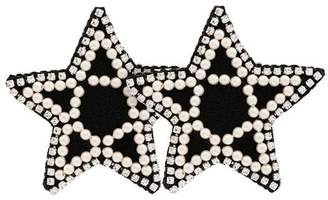 Venessa Arizaga black crystal and pearl embellished star earrings