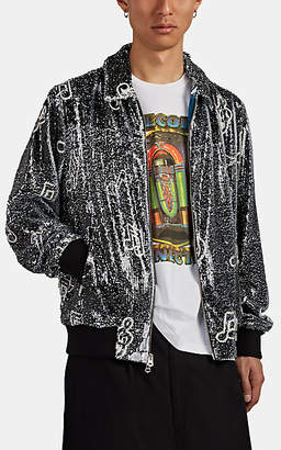 Ovadia & Sons Men's Sequined Musical-Note-Print Coach's Jacket - Black