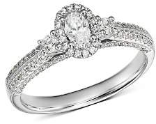 Bloomingdale's Oval Diamond & Double Pavé Shoulder Engagement Ring in 14K White Gold, 0.75 ct. t.w. - 100% Exclusive
