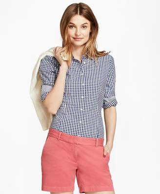 Gingham Stretch Cotton Poplin Shirt $58 thestylecure.com