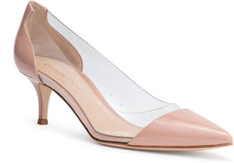 Gianvito Rossi Plexi 55 Dusty Pink Patent Leather PVC Pumps