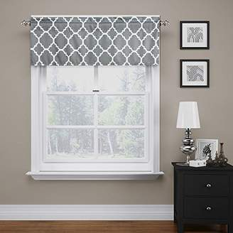 """Flamingo P Moroccan Gray Valance Curtain Extra Wide and Short Window Treatment for for Kitchen Living Dining Room Bathroom Kids Girl Baby Nursery Bedroom 52"""" X18"""""""