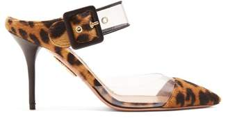 Aquazzura Optic 85 Leopard Print Buckle Strap Mules - Womens - Leopard