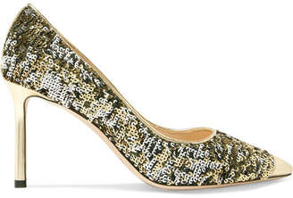 Jimmy Choo Romy 85 Sequined Leather Pumps - Gold