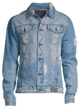 PRPS Men's Destroyed Light Wash Denim Jacket - Indigo - Size Small