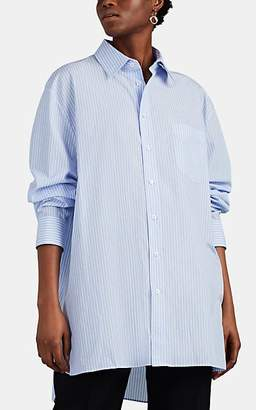 Maison Margiela Women's Striped Cotton Poplin Oversized Blouse - Blue
