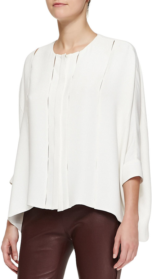 ADAM by Adam Lippes Oversized Bar Tacked Blouse, Cream
