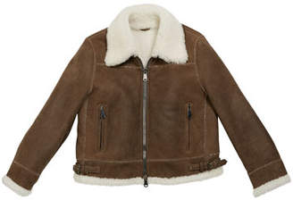 Brunello Cucinelli Girl's Shearling Zip Front Jacket w/ Monili Trim, Size 12