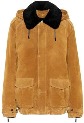 Saint Laurent Fur-trimmed suede jacket