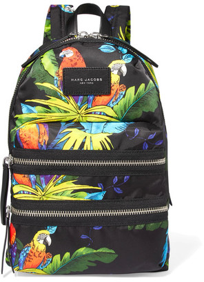 Marc Jacobs - Leather-trimmed Printed Shell Backpack - Black $225 thestylecure.com