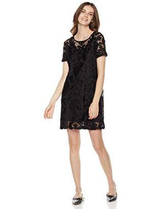 Painted Heart Women's Short Sleeve Clip Jacquard Knit Dress