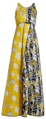 Carl kapp Carl Kapp - Tropical Floral Jacquard Gown - Womens - Yellow Multi