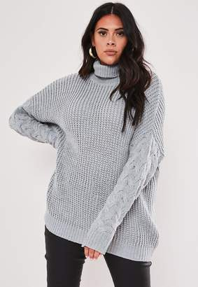 Missguided Plus Size Grey Roll Neck Cable Sleeve Jumper