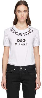 Dolce & Gabbana White Fashion Sinner T-Shirt