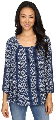 Lucky Brand Printed Knit and Lace Top $69.50 thestylecure.com
