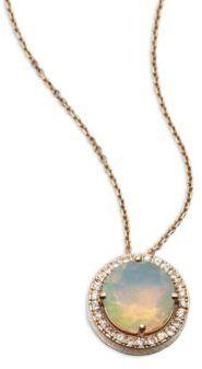 Suzanne Kalan KALAN by Opal, White Sapphire & 14K Rose Gold Round Pendant Necklace