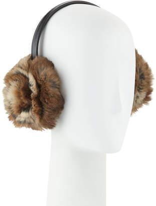 Adrienne Landau Petal Rosette Rabbit Fur Earmuffs, Brown