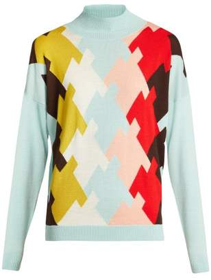 DELPOZO High Neck Wool Sweater - Womens - Blue Multi