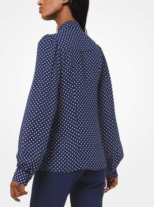 Michael Kors Polka Dot Silk-Georgette Tie-Neck Blouse