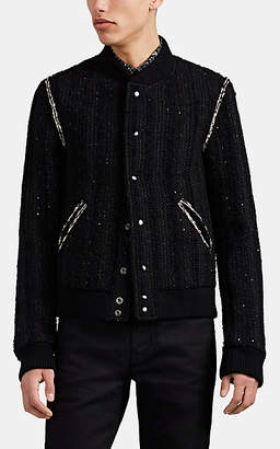 Saint Laurent Men's Sequin-Embellished Wool-Blend Tweed Teddy Jacket - Black
