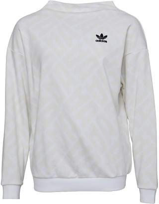 adidas Womens All Over Print Sweatshirt White/White