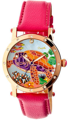 Mother of Pearl BERTHA Bertha Womens Chelsea Mother-Of-Pearl Hot Pink Leather-Band Watchbthbr4904