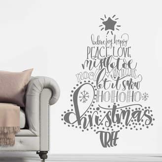 Nutmeg Calligraphy Christmas Tree Wall Sticker