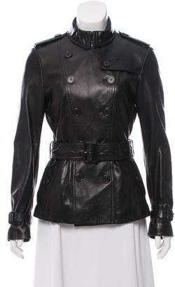 Burberry Belted Leather Jacket