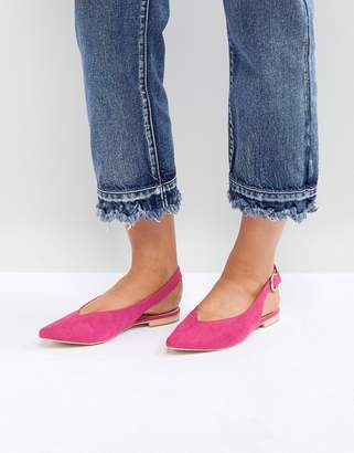 Glamorous Point Slingback Flat Shoe in Pink