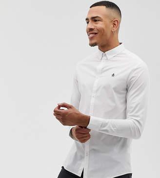big & tall icon logo button down poplin shirt stretch in white