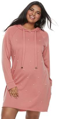 Almost Famous Juniors' Plus Size Simulated Pearl Hooded Dress