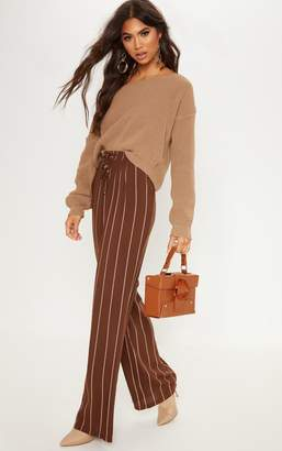 PrettyLittleThing Chocolate Diya Casual Wide Leg Trouser