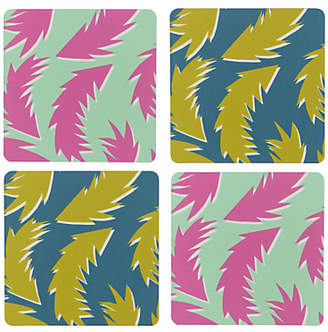 Sunny Todd Prints Feathers Coasters, Multi, Set of 4