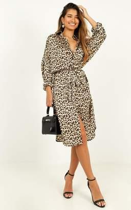 Showpo Reach For Her shirt dress in leopard print satin - S/M Casual