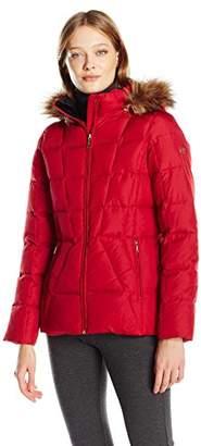 Calvin Klein Women's Down Puffer Short Coat With Faux Fur Trimmed Hood
