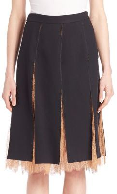 Michael Kors Collection Paneled Lace-Inset Skirt
