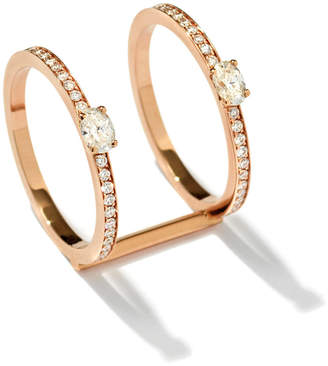 Repossi Harvest Two-Row Ring with Two Oval-Cut Diamonds in 18K Gold