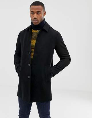 Asos Design DESIGN wool mix trench coat in black