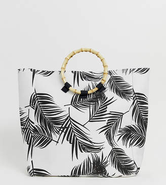 South Beach Exclusive palm print beach bag with bamboo effect handle