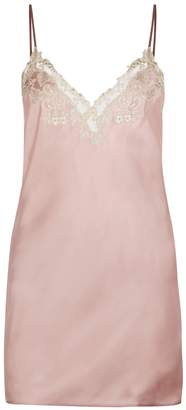 La Perla Maison Powder Pink Silk Satin Slip With Frastaglio