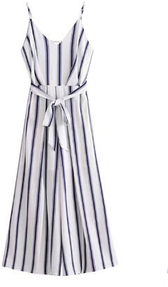 Goodnight Macaroon 'Trane' Striped Tied Waist Strap Jumpsuit