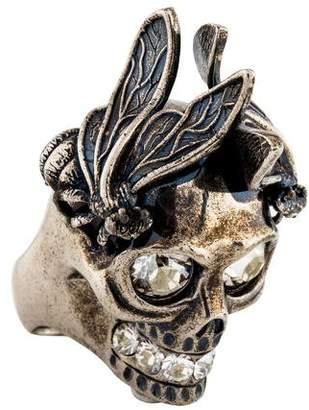 Alexander McQueen Crystal Skull Punk Bee Ring
