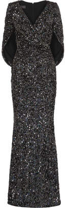 Talbot Runhof Rosin Cape-effect Sequined Crepe Gown - Black