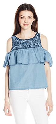 My Michelle Junior's Cold Shoulder Tiered Top with Embroidery