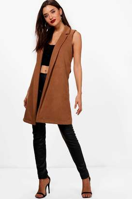 boohoo Sleeveless Tailored Wool Look Coat