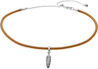 Pandora Silver & Golden Tan Leather Choker With Feather Charm Necklace