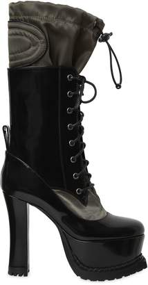Moschino 120mm Brushed Leather & Nylon Boots
