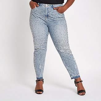River Island Plus blue Alannah embellished jeans