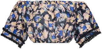 A Peace Treaty Yuna print silk linen-blend cropped top